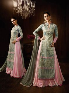 Gray Raw Silk Indo Western Lehenga Choli 80020
