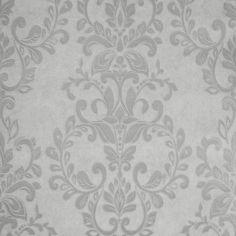 Muriva Serafina Damask Wallpaper Silver / Soft Grey - Muriva from I love wallpaper UK
