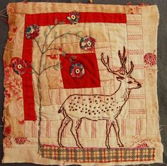 Log cabin block over stitched by Mandy Pattullo on blog Thread and Thrift