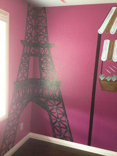 Paris themed litle girls room.