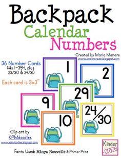 Backpack Calendar Numbers