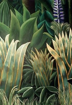 for Film 'Where the-Detail: Rousseau inspired jungle Mural; for Film 'Where the Heart Is' by Tim… Detail: Rousseau inspired jungle Mural; for Film 'Where the Heart Is' by Timna Woollard Studio - Botanical Art, Botanical Illustration, Illustration Art, Poster Xxl, Jungle Art, Naive Art, Leaf Art, Oeuvre D'art, Painting Inspiration