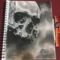 Skull drawing by Robert Luders Tattooer - drawings_pintous Skull Artwork, Skull Painting, Painting & Drawing, Drawing Drawing, Dark Art Drawings, Drawing Sketches, Skull Drawings, Drawing Tips, Realistic Drawings