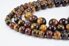 Mixed Color Tiger Eye Gemstone Round Beads 8mm/10mm/12mm