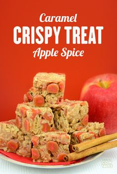 SO GOOD! These apple spice crispy treats are amazing! Made with cinnamon rice cereal, marshmallows, and (YUM) Caramel Apple Cow Tales! SAVE & SHARE!