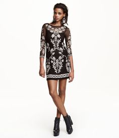 Short, fitted dress in embroidered mesh. Lined with attached jersey liner dress with narrow shoulder straps. | H&M Divided