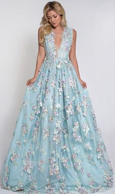 Floral Embroidery , Tulle 3D Flowers,Long Prom Dress, Sleeveless V Neck Evening Dresses ,Custom Made,Floor Length ,2018 New Fashion