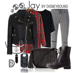 Jay by leslieakay on Polyvore featuring Chicwish, French Connection, J Brand, Charlotte Russe, Warehouse, Bling Jewelry, Halloween, disney, disneybound and disneycharacter