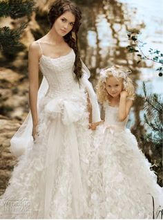 love the flower girls dress not so much on the bride Flower Girls, Flower Girl Dresses, Girls Dresses, Dress Girl, Baby Dress, Bridal Gowns, Wedding Gowns, Tulle Wedding, Wedding Bride