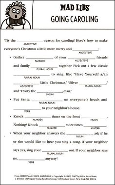 ... Mad Libs on Pinterest | Mad Libs, Parts Of Speech and Christmas Carol