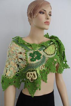 Geel groen vrije haak zomer sjaal-omslagdoek / door levintovich