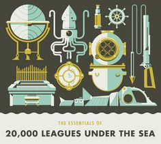 Minimalist movie poster inspiration, 20,000 Leagues Under the Sea