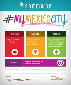 #itravel2000 #MyMexicoCity    Create your #MyMexicoCity pinboard and repin at least 5 of your favourite Mexico City pins with #MyMexicoCity and #itravel2000 in the description.   Fill out our entry form on Facebook for your chance to WIN a trip for 2 to Mexico City! Win A Trip, Mexico City, Create Yourself, Trips, Fill, Spaces, Holidays, Facebook, Christmas