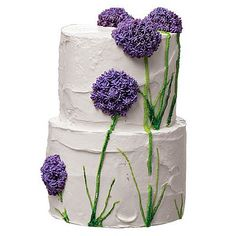 beautiful purple flowers on this cake -- I wish I could remember what these are called!