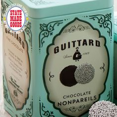 "Nonpareils Tin by Guittard, SAN FRANCISCO, CA - The Gold Rush brought Etienne Guittard to San Francisco from France hoping to strike it rich. Trading his uncle's delicious chocolate for mining supplies, he soon realized he already had a goldmine. These scrumptious nonpareils - French for ""without equal"" - come in milk or dark chocolate in a cute tin box. ""Eureka, we have found it!""  Available at The Vermont Country Store http://www.vermontcountrystore.com"
