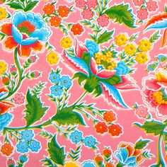 Fantasia pink - Mexican oilcloth available at Kitsch Kitchen, Amsterdam.