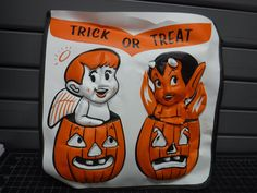 Vintage Halloween Trick or Treat Bag Angel Devil Pumpkins Shoulder Strap 50's