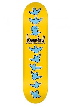 Birdical Yellow skateboard deck by Krooked.