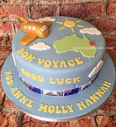 Bon Voyage and Good Luck cake for family emigrating to Australia. Piped Delights by Julie Cakes Guildford Surrey Novelty Celebration Bon Voyage Cake, Bon Voyage Party, Going Away Cupcakes, Australia Cake, Farewell Cake, Suitcase Cake, Fondant, Travel Cake, Cake Board