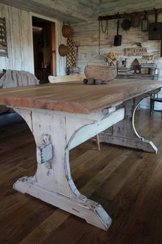 Oh I love that rustic, farmhouse table! I want me a large table near the kitchen so family can sit around chatting and cooking!  ¤ Like this pin? Follow me for more @rosajoevannoy ツ