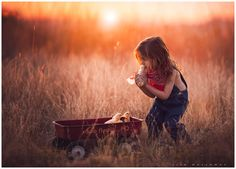 little boy has his portrait taken outdoors near Las Vegas with his red wagon and pet chicks