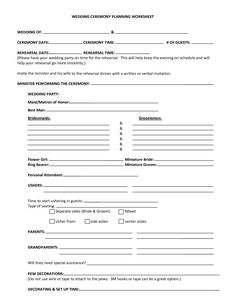 Worksheets Wedding Planning Worksheet gegs wedding planning templates ceremony structure and music free printable worksheets quelles astuces pour organiser votre mariage sur http