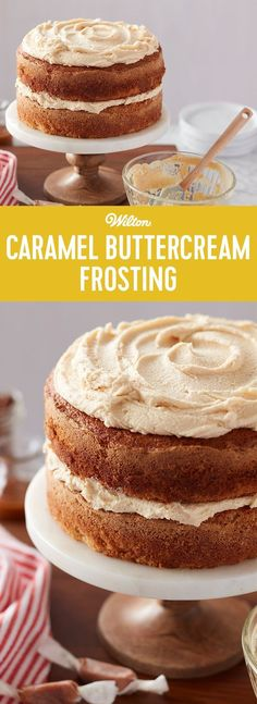 Caramel Buttercream Frosting Recipe - We've swirled satiny caramel topping into classic buttercream mixture to create this rich Caramel Buttercream Frosting. #buttercreamfrosting #baking #recipes