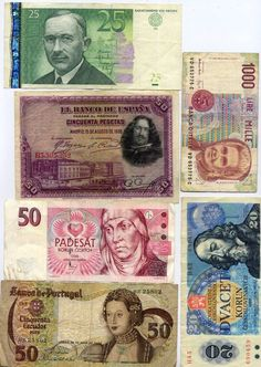 6 Banknotes from; PORTUGAL, ITALY, CZECH, SPAIN, ESTONIA Portugal, Coins, Spain, Italy, Coining, Spanish