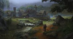 Medieval European Village - Art test, Klaus Pillon on ArtStation at https://www.artstation.com/artwork/medieval-european-village-art-test
