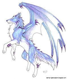Drawings of anime wolf girls. ice demon wolf by captainmorwen Wolf Drawing Easy, Anime Wolf Drawing, Wings Drawing, Anime Sketch, Cute Animal Drawings, Kawaii Drawings, Cool Wolf Drawings, Easy But Cool Drawings, Easy Dragon Drawings
