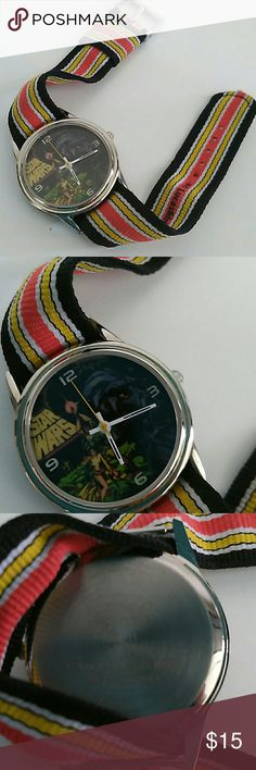 Star Wars Watch Character Scene ( for male/female) Star Wars, Lucas Film ltd & TM,  authentic,  fabric strap,  star wars character scene includes lead characters Princess Lea,  Luke Skywalker,  Darth Vader,  needs battery,  used, sold as is,  rare watch, unisex watch, can change band Lucasfilm LTD Accessories Watches