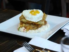 Chicken-Fried Bacon with Creamy Shrimp Grits and Sunny-Side Egg from CookingChannelTV.com