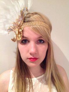 1920s  Gold Head Wrap- Gatsby style- Flapper-  Bridal 1920s hair accessory- handmade- Headpiece- Headdress NY.