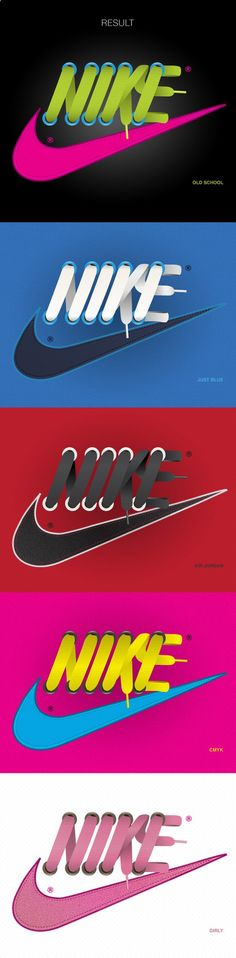 huge selection of 5aaf3 879c7 Designer integrates the famous Nike logo with shoelaces. Awesome concept!  Webbdesign, Typografidesign,