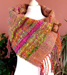 Handwoven scarf made of handspun Art by PastoralWool on Etsy