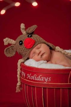 Crochet Rudolph Hat - Reindeer hat - christmas hat - all sizes on Etsy, $25.00