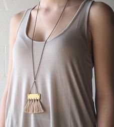 Wire Wrap Tassel Necklace