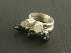 Quartz and Black Obsidian Points Stacking Ring by BadPandaCouture