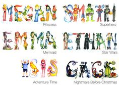 Adventure Time Name Painting $6.00 Per Letter by Legendbrush on Etsy,