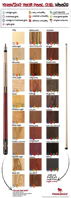 Here are some #interesting facts about the different types of #wood in making the #cue sticks.