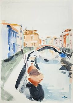 Original Landscape Painting by Dumitru Bostan Junior Watercolor Paintings, Original Paintings, Original Art, Watercolor Water, Watercolors, Venice Painting, Impressionism Art, Is 11, Romania