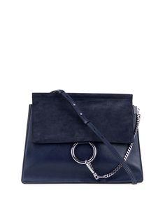 Chloe Faye Medium Flap Suede/Leather Shoulder Bag, Navy