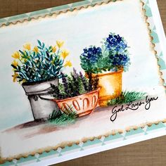 Art Impressions Rubber Stamps: Ai Wonderful Water Color...handmade card. pots, flowers, grass, foliage