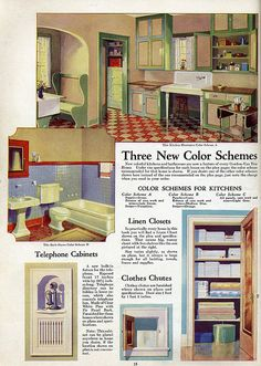 Vintage kitchen and household 1930s House Interior, 1920s House, Interior Design, Vintage Room, Vintage Kitchen, 1930s Kitchen, Kitchen Sink, Vintage Interiors, Colorful Interiors