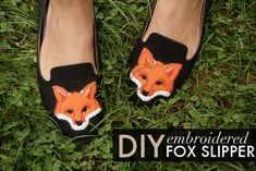 DIY Embroidered Fox Slippers