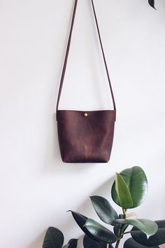 brown oiled leather crossbody bag // small leather purse // leather bag // leather tote bag // brass push button // minimal