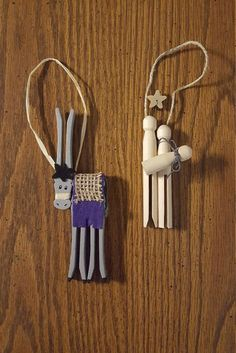 Items similar to Set of 2 Christmas Ornaments - Christian Decor - Mary - Joseph - Jesus - Christianity - Primitive Decor - Christmas Decor - Donkey on Etsy Christmas Ornaments Christian Decor Mary Joseph Jesus Primitive Christmas Ornaments, Nativity Ornaments, Nativity Crafts, Christmas Ornament Crafts, Preschool Christmas, Christmas Nativity, Christmas Crafts For Kids, Handmade Ornaments, Christmas Diy