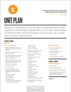 This unit-planning checklist includes step-by-step guidance on tweaking or overhauling the big elements of a unit plan.