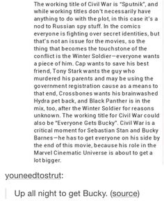 Man, now everyone's after Bucky. I thought it would be just Steve. Anybody remember that LEGO video, The Empire Strikes Out? We should have something like that - Bucky running through the streets with every superhero in the MCU chasing after him. I'd pay good money to see that.