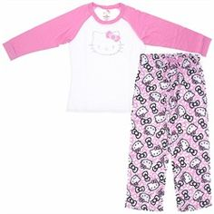 43b840a72f These two piece pink Hello Kitty pajamas are the perfect pair for pretty  much everything. Whether you lounge around or take a